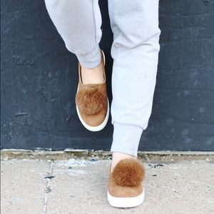 Shoes - Suede camel colored sneakers with pompom